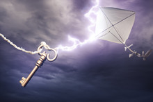 Kite Getting Struck By A Bolt Of Lightning