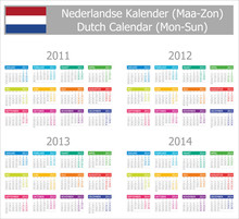 2011-2014 Type-1 Dutch Calendar Mon-Sun