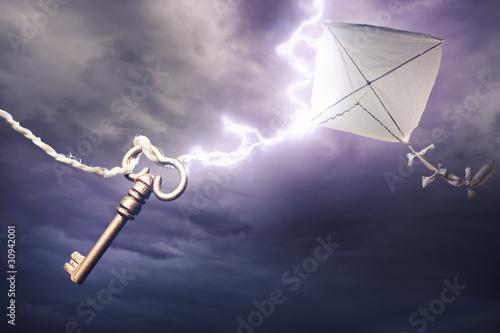 Fotografie, Obraz  kite getting struck by a bolt of lightning
