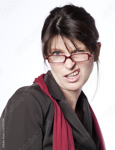 Fotografie, Obraz  femme salariée critique grimaçante