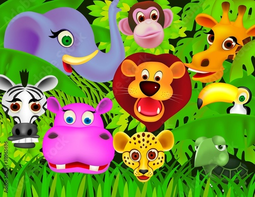 La pose en embrasure Forets enfants Cute animal cartoon