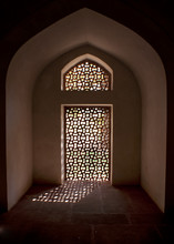 Alcove With Stone Screen In Window At The Humayun Tomb.