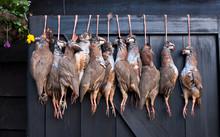 Pheasant Carcasses Hanging On A Restaurant Door