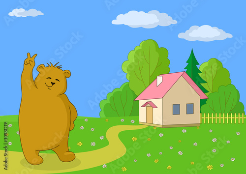 Wall Murals Bears Teddy bear against the own house