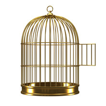 3d Gilded Bird Cage With Open ...