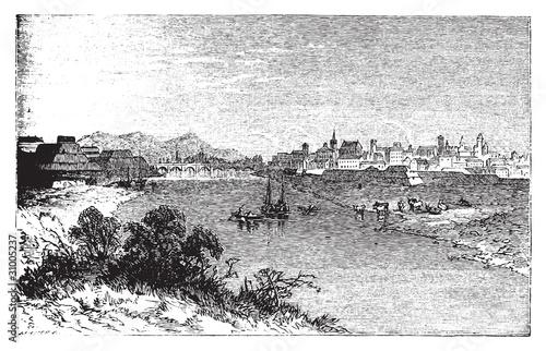 Fototapeta Alexandria city vintage engraving. In Piedmont, Italy, and the