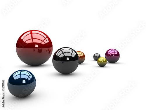 Colorful spheres isolated on white