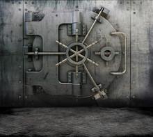 Grunge Interior With Bank Vault