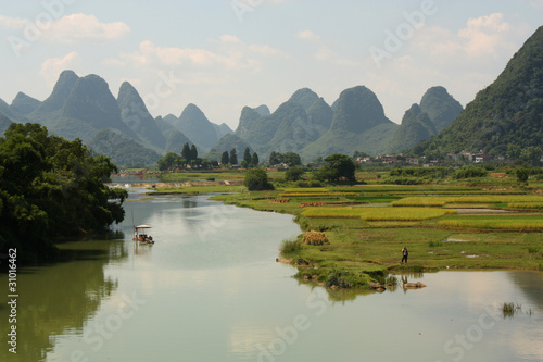 Chinese landscape of Yangshuo with river and water meadows