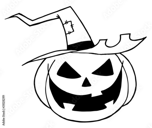 Black And White Outline Of A Jack O Lantern Wearing A Witch Hat Buy This Stock Vector And Explore Similar Vectors At Adobe Stock Adobe Stock