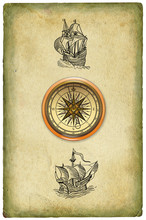 Vintage Sailboats With Compass...