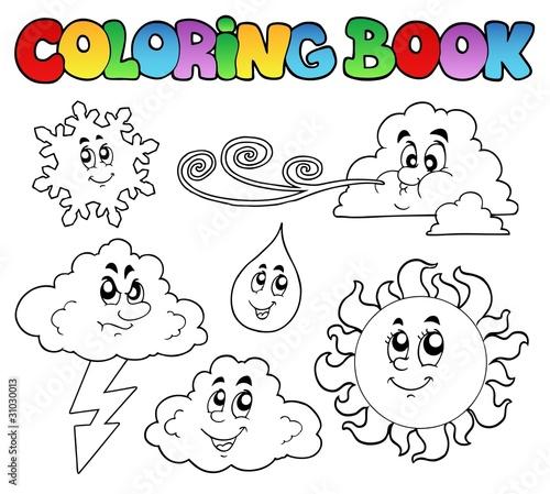 Tuinposter Doe het zelf Coloring book with weather images