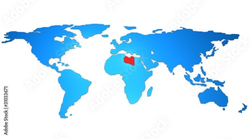Libya Map Highlited On The World Map 3d Buy This Stock