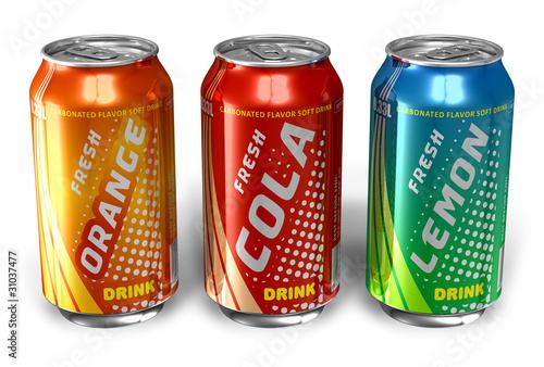 Fotografía  Set of refreshing soda drinks in metal cans