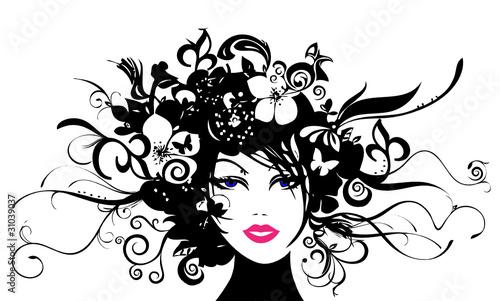 Frauenkopf mit Blüten und Ranken #31039037