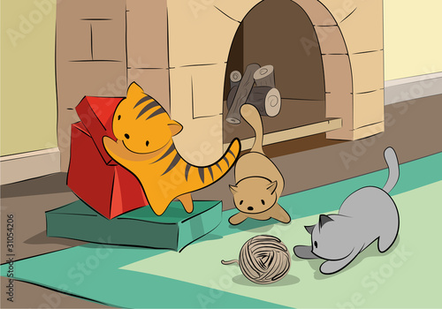 Printed kitchen splashbacks Cats Oynayan Kediler