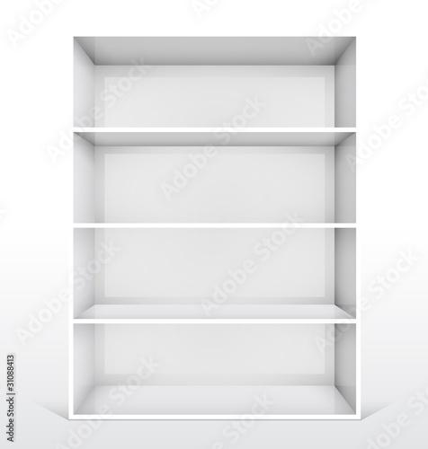 Fototapeta 3d isolated Empty white bookshelf