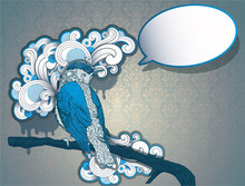 Vintage Hand Drawn Bird With Speech Bubble. No Transparency .