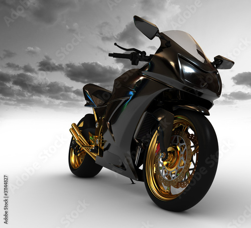 Poster Motocyclette Render of concept motorcycle