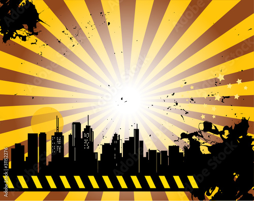 Grunge abstract urban background, vector illustration