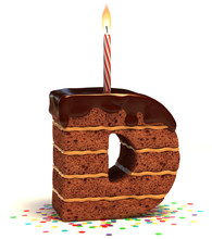 """Letter """"D"""" Shaped Chocolate Birthday Cake With Lit Candle"""