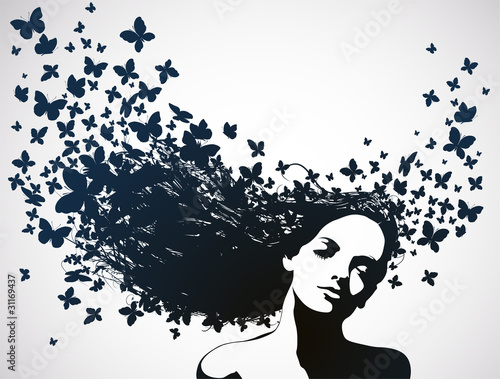 Foto op Aluminium Vlinders in Grunge Woman with a butterflies in hair.