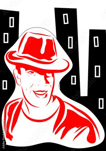 czerwony-tajemniczy-mezczyzna-na-tle-blokow-komiks