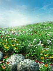 FototapetaWiosenna sceneria z kwiatami i skałami