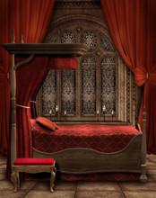 Sypialnia Retro Z Czerwonymi Zasłonami