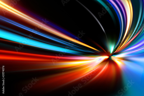 Pinturas sobre lienzo  abstract night acceleration speed motion on road