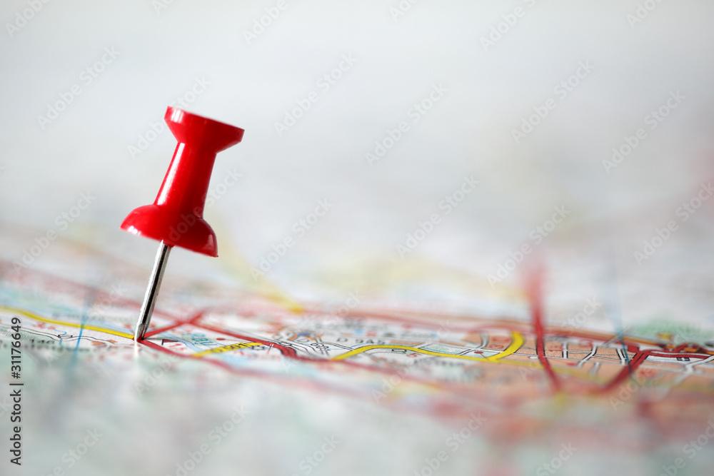 Fototapeta Pushpin on map