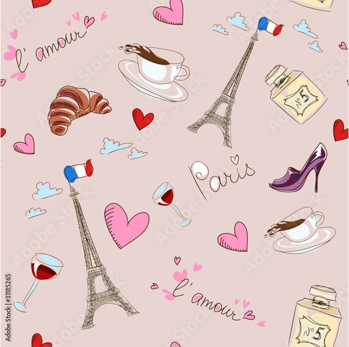 Deurstickers Doodle Paris seamless pattern