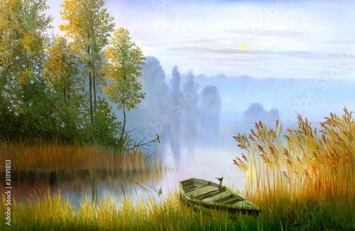 Wooden boat ashore - 31191813