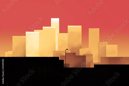 Fototapety, obrazy: Red Skyline of a Downtown in the Sunset Hour