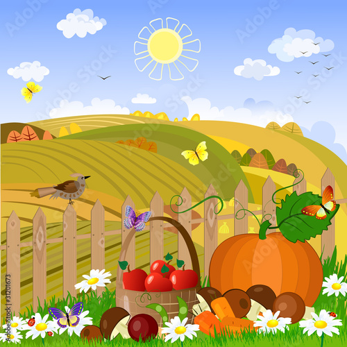 Wall Murals Birds, bees Autumn rural landscape