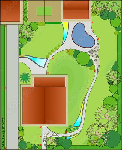 Poster Lime groen Landscape design