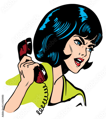Wall Murals Comics Angry Woman On Phone Retro Clip Art Comics Book style