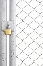 Chain Link Fence And Metal Door With Lock