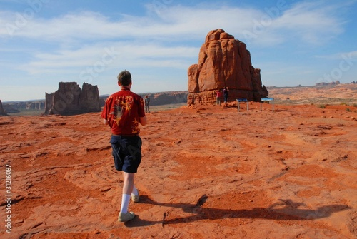 Hiking at Arches Canvas Print