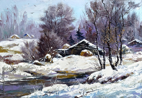 Small house in winter village - 31220669