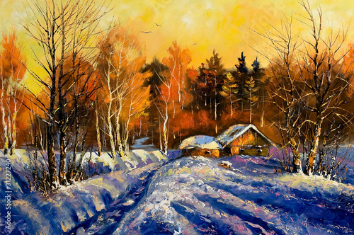 Evening in winter village