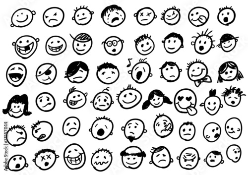 Obraz doodled funny stick figure faces - fototapety do salonu