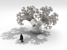 Thinking Businessman Before Fractal Tree