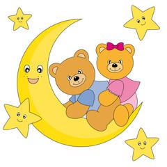 Medvjedi koji sjede na vrhu mjeseca