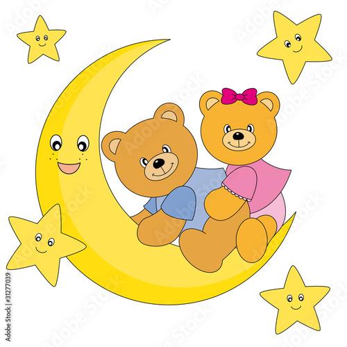 Deurstickers Beren Osos sentados encima de la luna