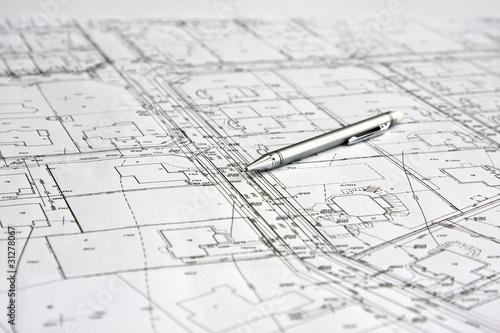 Fototapeta ołówek na białym planie budowy architektonicznym obraz