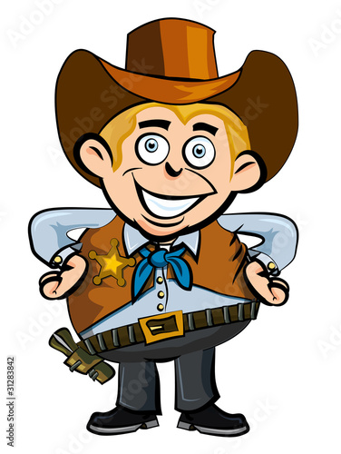Foto op Canvas Wild West Cute cartoon cowboy smiling