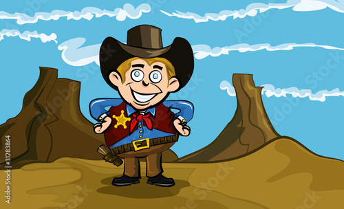 Montage in der Fensternische Wilder Westen Cute cartoon cowboy smiling