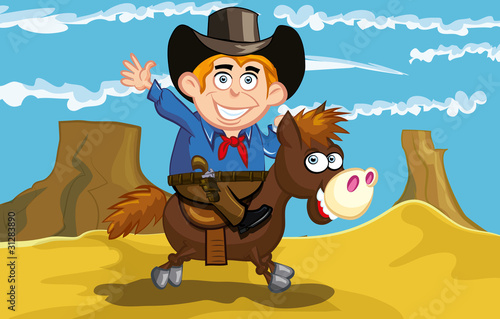 Aluminium Prints Wild West Cartoon cowboy on a horse