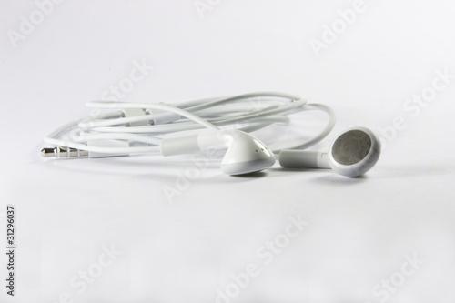 Obraz Białe słuchawki - fototapety do salonu